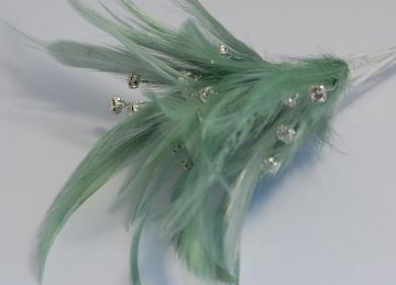 Diamante Feathers - Sage