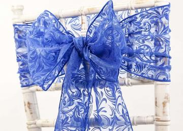 Flock Organza Sash 20cm x 275cm - Royal Blue